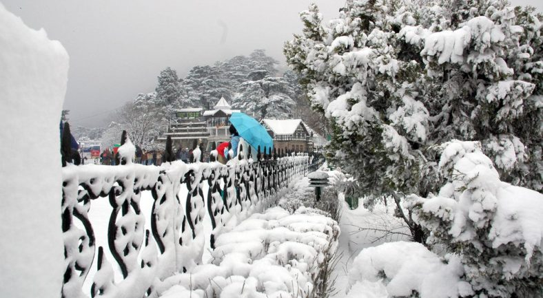 A panoramic view of Shimla after receiving fresh snowfall on Friday.Also seen in the picture is a tree almost uprooted due to heavy snow fall.